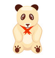 soft toy panda bear with red ribbon vector image