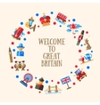 Welcome to Great Britain circle card with famous vector image