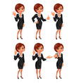Cartoon business woman gestions set vector image