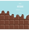 Cream melted on milk chocolate bar background vector image