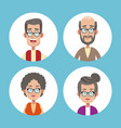 group grandparents family icons vector image