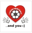 Red heart with an inscription - I love football vector image vector image