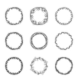 set of nine abstract chaotic round frame brush vector image
