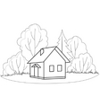 house and trees contours vector image vector image