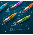 Education rocket ship launch with pencils - vector