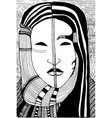 black and white surreal girl face vector image