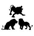 Silhouettes of lions in three different poses vector image