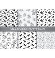 Set of halloween patterns Endless monochrome vector image