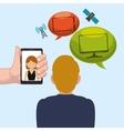 man smartphone woman bubble speech worlwide vector image