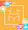women waist weight loss diet waistline - line vector image