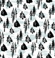 Seamless winter trees pattern vector image