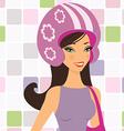 girl in helmet vector image vector image