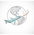 Aircraft icons globe vector image