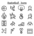 basketball icon set in thin line style vector image
