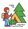 camping traveller tourist hiking mountains vector image