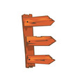 english letter e formed of downed wood planks with vector image