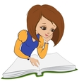 Girl reading book cartoon vector image
