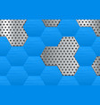 metal perforated background with blue hexagons vector image