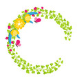 floral wreath with yellow blossoms and berries vector image vector image