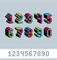 cybernetic 3d numbers pixel art numeration pixel vector image