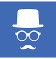 Hat Eyeglasses and Mustache White Graphic on Blue vector image