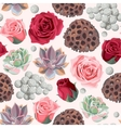Seamless succulent and roses vector image