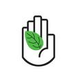 black line hand symbol holding green leaf sign vector image