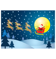 Christmas Santa and reindeer on the sky vector image