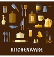 Kitchenware and utensil flat icons vector image