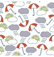 Seamless Pattern with Clouds Sun and vector image