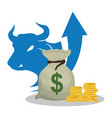 bag money cash bull arrow vector image