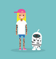 tattoo subculture human and robot fully covered vector image