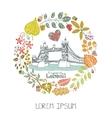 London landmarkAutumn leaves wreathTower Bridge vector image