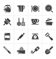 Black kitchen gadgets and equipment icons vector image vector image