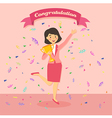 Business Woman Winning a Trophy vector image