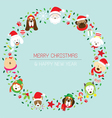 Christmas and Dog Breeds Wreath vector image