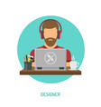 designer freelancer working on laptop vector image