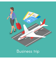 Isometric 3d concept of business trip vector image