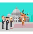 Deer Singing Song Near Conservatory Reindeer Opera vector image