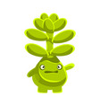cute worried succulent emoji cartoon emotions vector image vector image