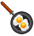 Pixel fried eggs isolated vector image