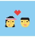 Pixel art style asian couple in love vector image