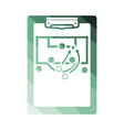 Soccer coach tablet with scheme of game icon vector image