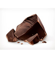 Dark chocolate pieces icon vector image vector image