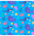 Seamless pattern of cute sea world characters vector image
