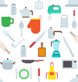 Kitchen items pattern stickers vector image