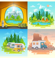camping concept tent caravan house on weels vector image