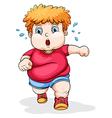 A fat Caucasian kid running vector image