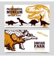 Dinosaurs museum exposition 2 banners set vector image