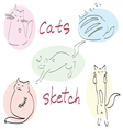 set of five drawn cats sketch vector image